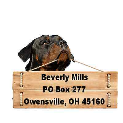 Rottweiler return address labels die cut to shape of dog and sign