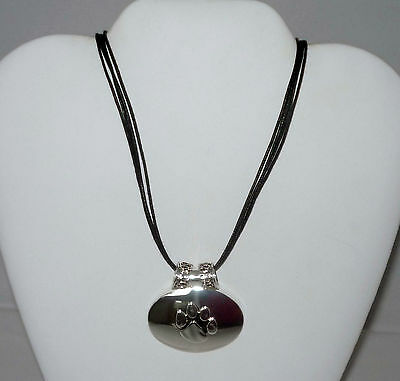Silver Pawprint Pendant and Black Cord Necklace - Dog Cat