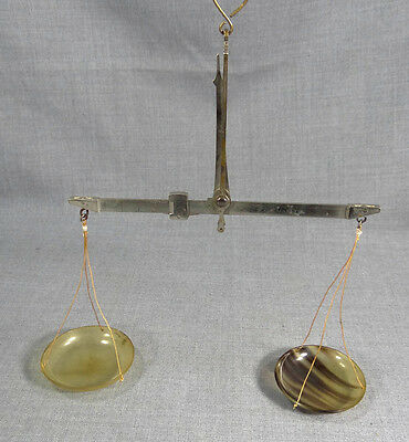 Antique German Apothecary Pharmacy Gold Miner's Brass Balance Scales Horn Bowls