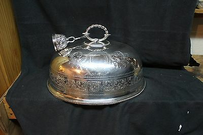 """Vintage Silverplate Dome Cover 18"""" Long & Dinner Bell"""