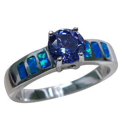 Fantastic 1 Ct Tanzanite Blue Opal 925 Sterling Silver Ring Size 5