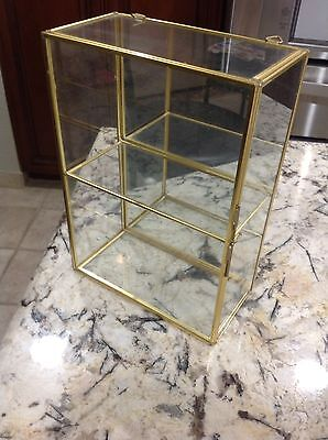 Vintage Brass And Glass Curio With Mrror For Shelf Or Wall