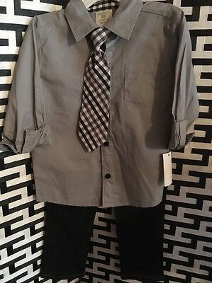 New With Tags Boys 3 PIECE Casual Suit Shirt Jeans Tie Size 3T