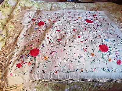 Antique Chinese silk embroidered shawl - colourful - slight colour run in places