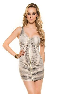 One-Shoulder-Minikleid mit Zip
