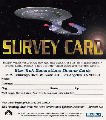 1994 Star Trek Generations Movie Survey Card NM/Mint condition