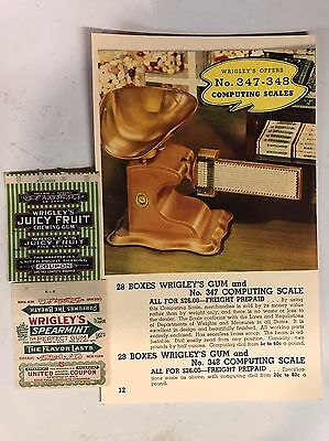 2 Original Vintage 1920's Wrigley's Color Gum Wrappers/coupons/sign