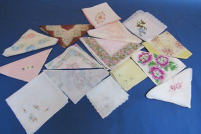 15  Womens Vintage Pretty  Handkerchiefs Hankies Flowers