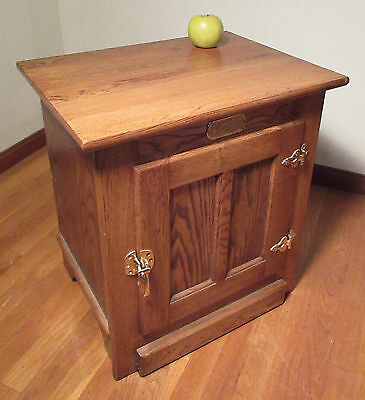 Amish Made Solid Oak White Clad Icebox Cabinet End Table w/Brass Hardware