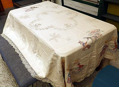 Large Vintage Mexican Linen Tablecloth Pre Printed Pattern Partially Embroidered