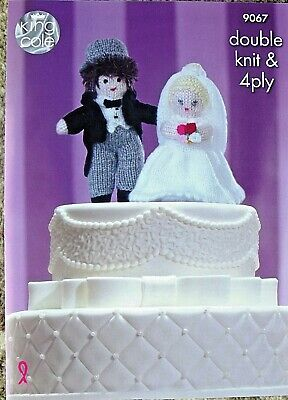 KING COLE KNITTING PATTERN 9067.  BRIDE AND GROOM.  DOUBLE KNITTING & 4Ply.