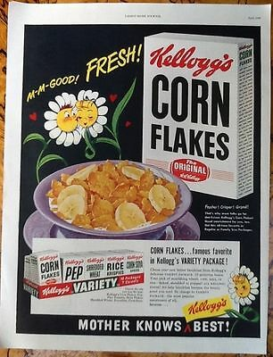 Kellogg's corn flakes cereal ad 1949 original vintage 1940s oversize kitchen