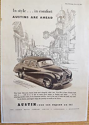 Austin Motor cars Early Advertisement Print 1951