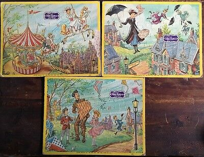 Lot Of 3 Vintage Walt Disney Tray Puzzles By Jaymar Featuring Mary Poppins