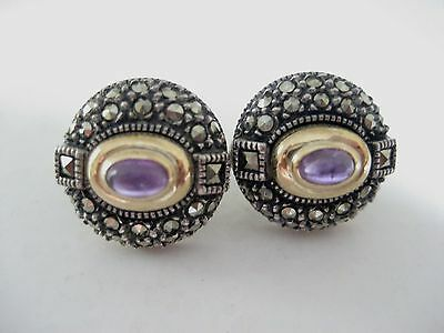 JUDITH JACK Earrings Amethyst, Sterling Silver, Marcasite, 14K Details,Signed JJ