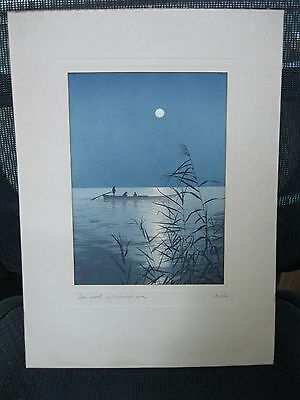 Old Shodo Koho Japanese Woodblock Print - Fish Boat on Moonlit Sea