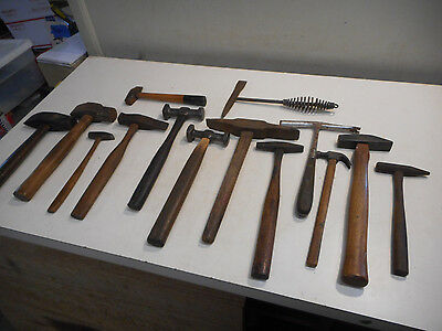 L1280 -  Lot of Antique Vintage Hammers - Blacksmith, Machinist, Stonw Etc.