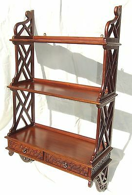 Antique Chinese Chippendale Style Mahogany Bookcase Hanging Wall Shelf Shelves