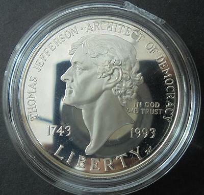 USA 1993 - S Silver $1 One Dollar Thomas Jefferson Proof Coin in Capsule