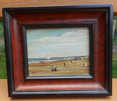 Vintage Oil Painting on Board Signed Mouvet Beach Scene Sailboat
