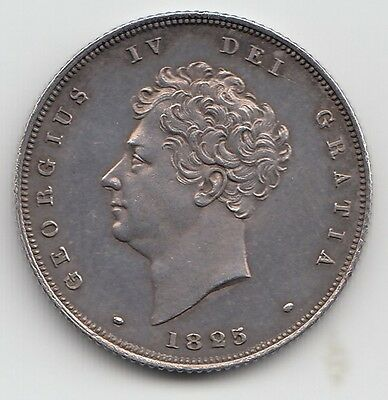 Very Rare George IV 1825 Bare Head Proof Silver Shilling 1/-