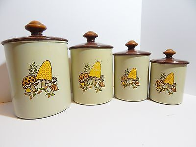 Kitchen Canister Set Mushroom West Bend Aluminum Wood handle Tan Colored Storage