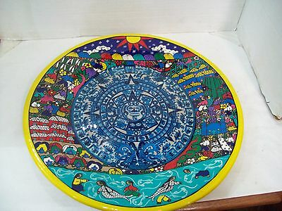 """Large Vintage Zihuatanejo Guerrero Mexico Mexican Platter Plate 16"""" Pottery"""