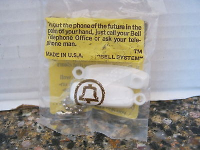 Bell System Vintage Trimline White Touch Tone Telephone Key Chain Nip Sealed
