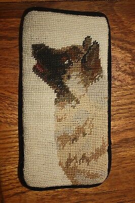 Needlepointed Akita Eyeglass Case