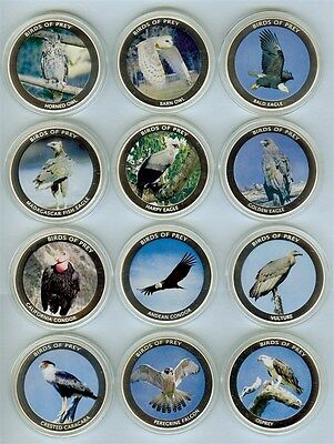 Malawi 2010 10 Kwacha Birds Of Prey 12 Coin Proof Set All Come In Capsules