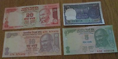 India Currency Gandhi 1 5 10 20  Rupees 4 Crisp Uncirculated Bank Notes