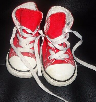 Converse All Star Red Unisex  Hi-Top Trainers Size 7 Infants
