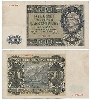 5oo Zlots Polish banknote issued in 1940 A vf