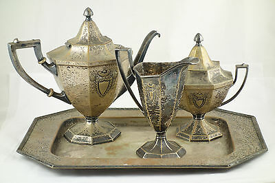 Antique 1916 Arts & Crafts Heraldic Rogers Bros Hammered Silverplate Tea Set