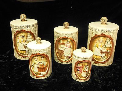 Vint 1978 Sears Roebuck & Co Ceramic Canister Set & Extra Canister Pioneer Women