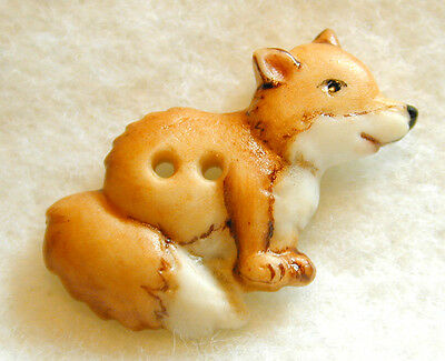 Handcrafted Porcelain Button Realsitic Fox  FREE US SHIPPING 1 inch
