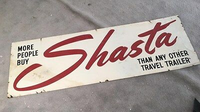 Original Metal 8' SHASTA Travel Trailer Camper Dealer Sign 1960's Dbl Sided RV