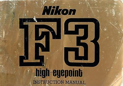 NIKON F3 HIGH EYEPOINT SLR 35mm CAMERA OWNERS INSTRUCTION MANUAL -from 1980s