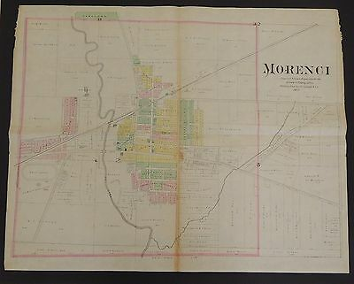 Michigan Lenawee County Map Morenci 1893 Double Page T1#46