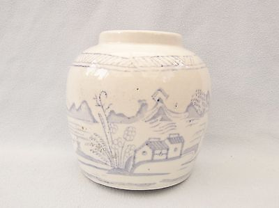 Antique Chinese Blue White Ginger Jar House Fishing Mountains No Lid