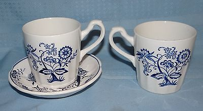 J&G Meakin Ironstone BLUE NORDIC Onion 2 Mugs & 1 Saucer Set Vtg Antique RARE