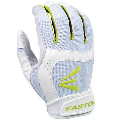 Easton Stealth Core Fastpitch Softball Batting Gloves, White/Optic Green, Small