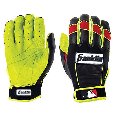 Franklin CFX Pro Revolt Adult Batting Gloves - Optic Yellow/Red - Small