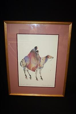 Carol Grigg Signed Framed Lithograph Native American Abstract Painting 24x19""