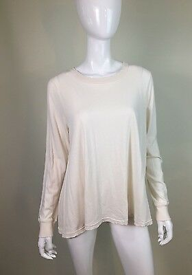 The Great Women's Ivory White Long Sleeve Distressed T Shirt Top Blouse SZ 3