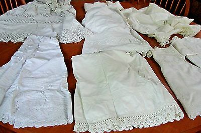 Large Lot Antique Baby Childrens Victorian Clothing Christening Slips Dress &