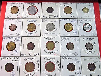 Germany. Vintage Lot Of 20 German Coins. Assorted Coins. See Pics.