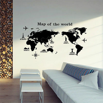 Removable PVC World Map Vinyl Art Room Wall Sticker Decal Mural Home Decor DIY