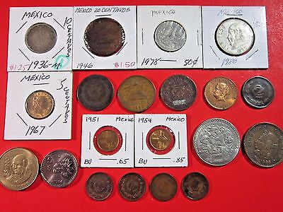 Mexico. Vintage Lot Of 20 Mexican Assoeted Coins. See Pics.