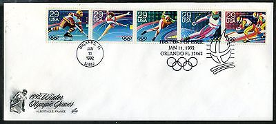 #2615a Winter Olympics 1992 Strip of 5 FDC ArtCraft Legal Size Envelope